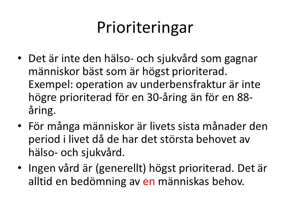 Prioriteringar Det är inte den hälso- och sjukvård som gagnar människor bäst som är högst prioriterad.