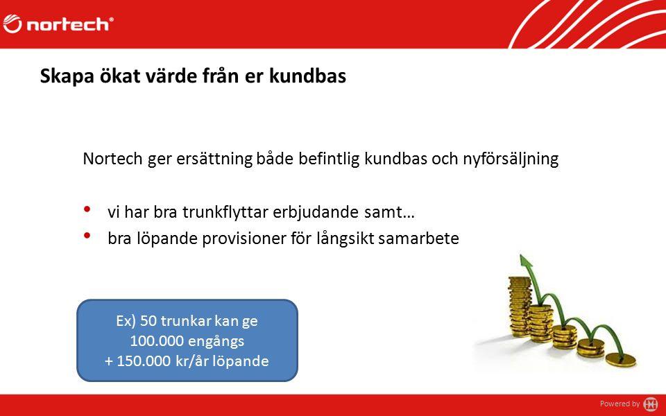 Powered by Skapa ökat värde från er kundbas Nortech ger ersättning både befintlig kundbas och nyförsäljning vi har bra trunkflyttar erbjudande samt… bra löpande provisioner för långsikt samarbete Ex) 50 trunkar kan ge 100.000 engångs + 150.000 kr/år löpande