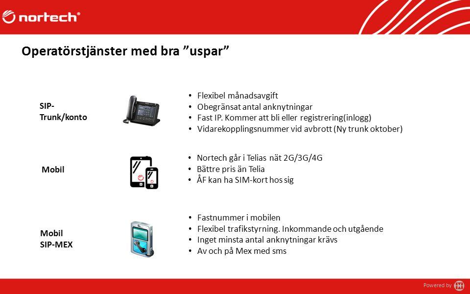Powered by Operatörstjänster med bra uspar Fastnummer i mobilen Flexibel trafikstyrning.
