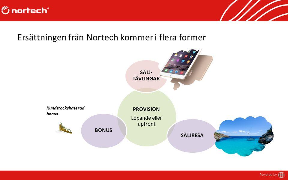 Powered by Ersättningen från Nortech kommer i flera former PROVISION Löpande eller upfront SÄLJ- TÄVLINGAR SÄLJRESA BONUS Kundstocksbaserad bonus