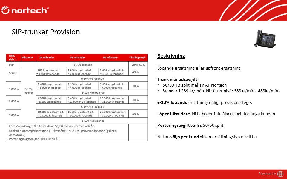 Powered by SIP-trunkar Provision Beskrivning Löpande ersättning eller upfront ersättning Trunk månadsavgift.