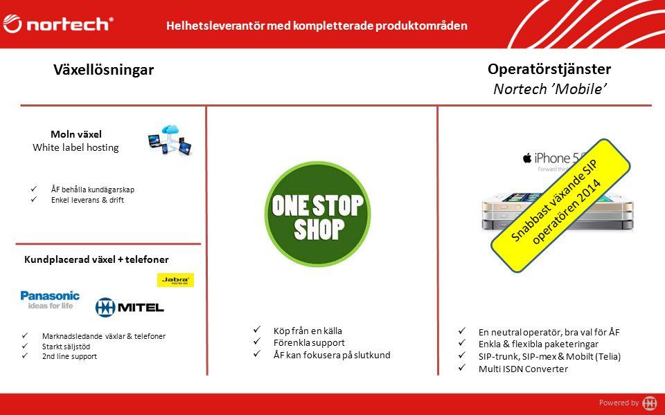 Powered by Moln växel White label hosting ÅF behålla kundägarskap Enkel leverans & drift Operatörstjänster Nortech 'Mobile' En neutral operatör, bra val för ÅF Enkla & flexibla paketeringar SIP-trunk, SIP-mex & Mobilt (Telia) Multi ISDN Converter Helhetsleverantör med kompletterade produktområden Växellösningar Kundplacerad växel + telefoner Marknadsledande växlar & telefoner Starkt säljstöd 2nd line support Köp från en källa Förenkla support ÅF kan fokusera på slutkund Snabbast växande SIP operatören 2014