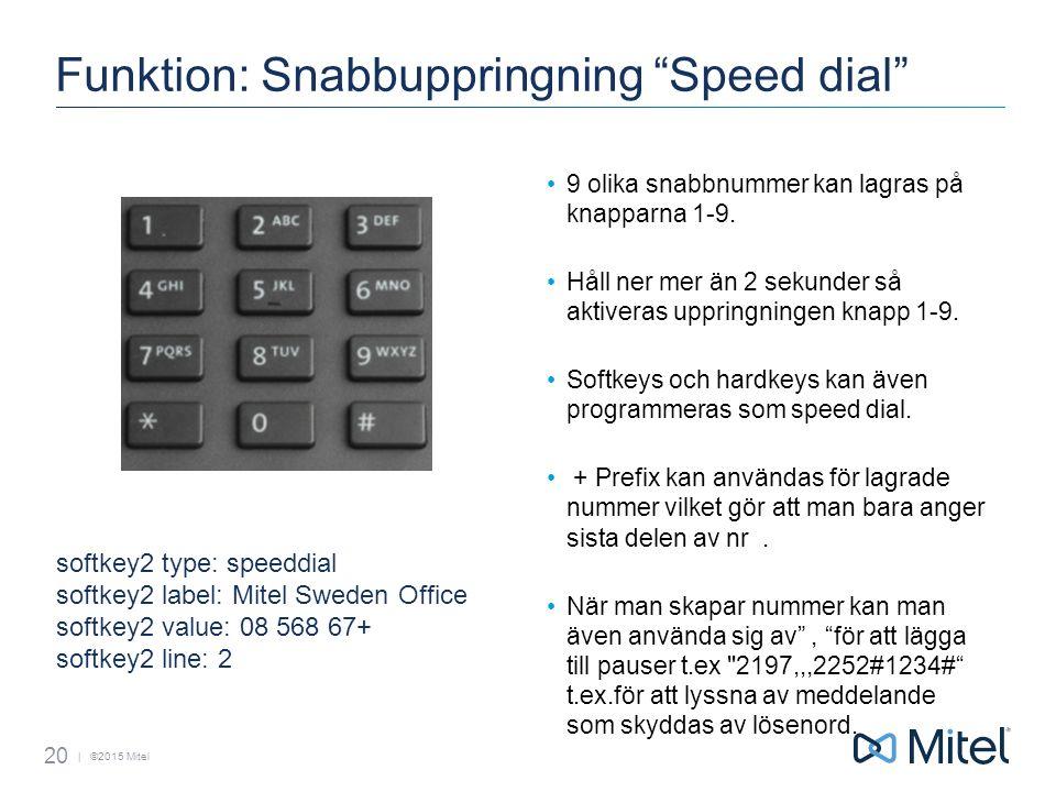 | ©2015 Mitel Funktion: Snabbuppringning Speed dial 9 olika snabbnummer kan lagras på knapparna 1-9.