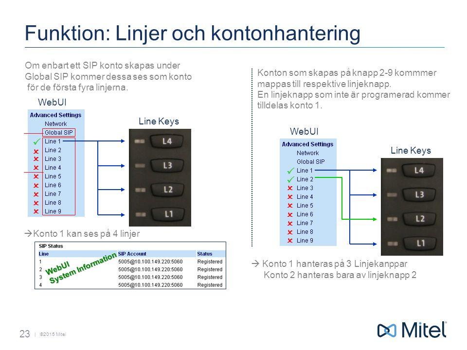 | ©2015 Mitel Funktion: Linjer och kontonhantering 23 Om enbart ett SIP konto skapas under Global SIP kommer dessa ses som konto för de första fyra linjerna.