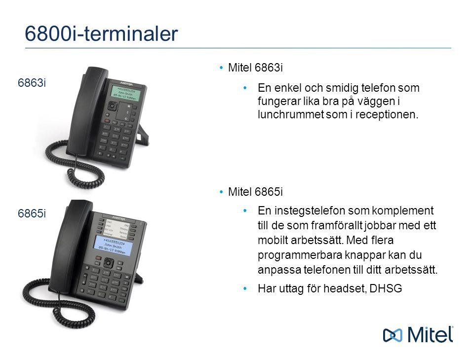 | ©2015 Mitel 6800i-terminaler Mitel 6863i En enkel och smidig telefon som fungerar lika bra på väggen i lunchrummet som i receptionen.