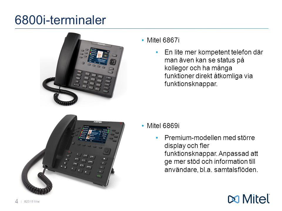 | ©2015 Mitel 6800i-terminaler Mitel 6867i En lite mer kompetent telefon där man även kan se status på kollegor och ha många funktioner direkt åtkomliga via funktionsknappar.