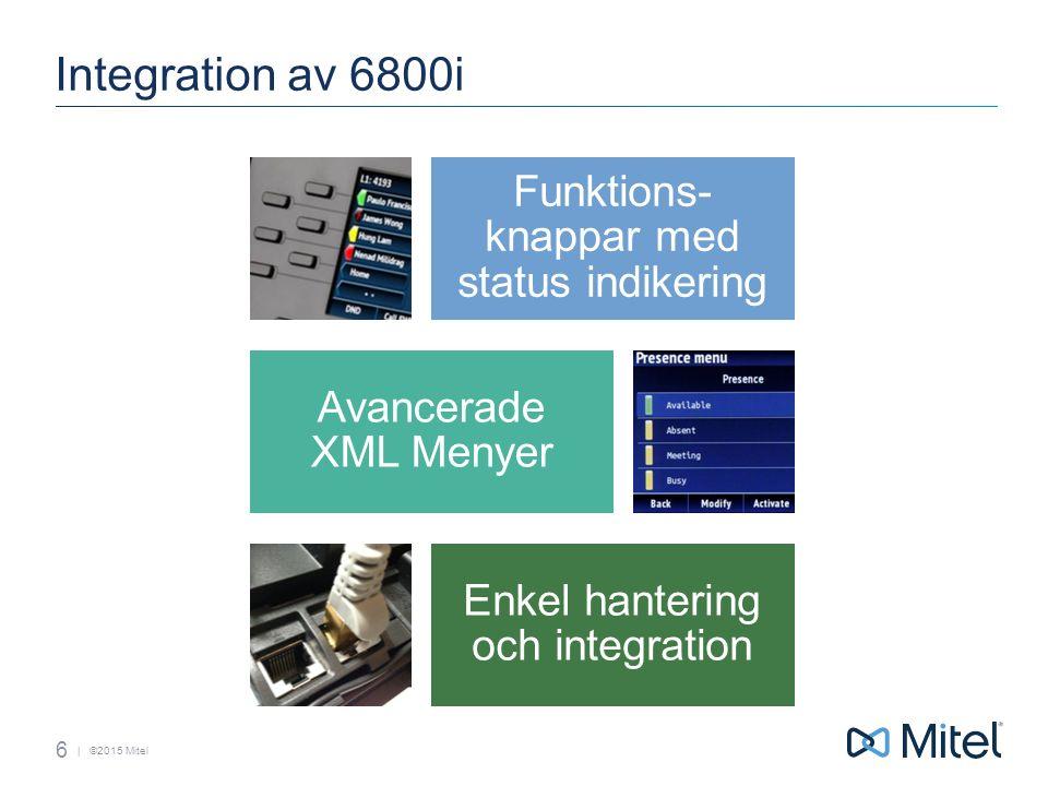 | ©2015 Mitel Integration av 6800i 6 Funktions- knappar med status indikering Avancerade XML Menyer Enkel hantering och integration
