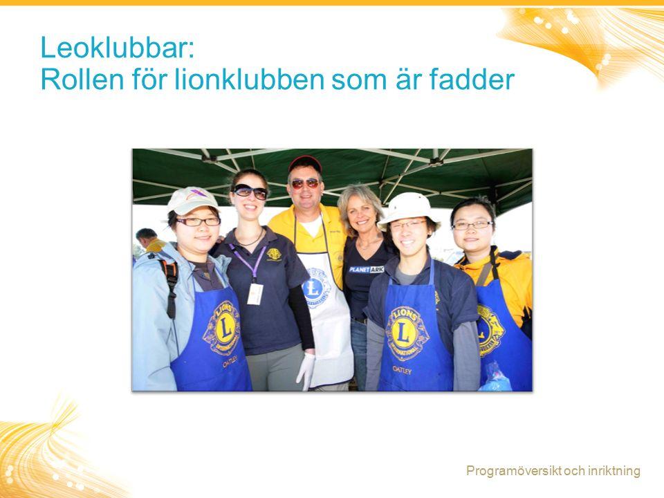15 Leoklubbar: Rollen för lionklubben som är fadder Programöversikt och inriktning