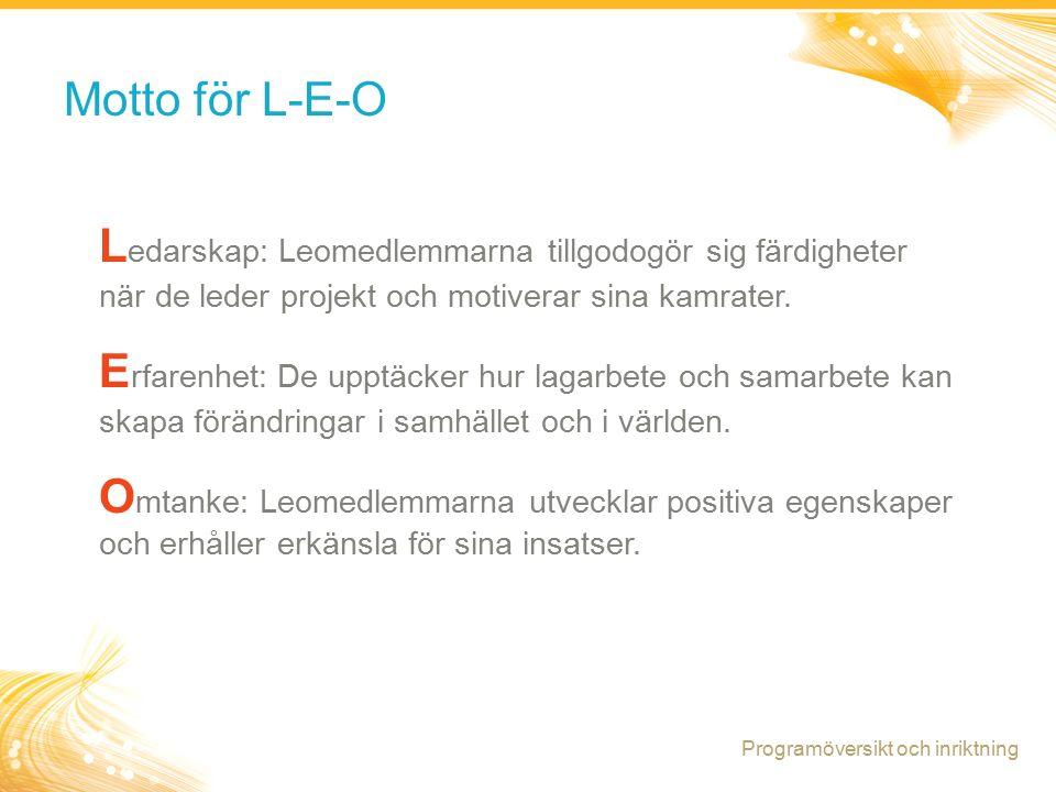 3 Motto för L-E-O L edarskap: Leomedlemmarna tillgodogör sig färdigheter när de leder projekt och motiverar sina kamrater.