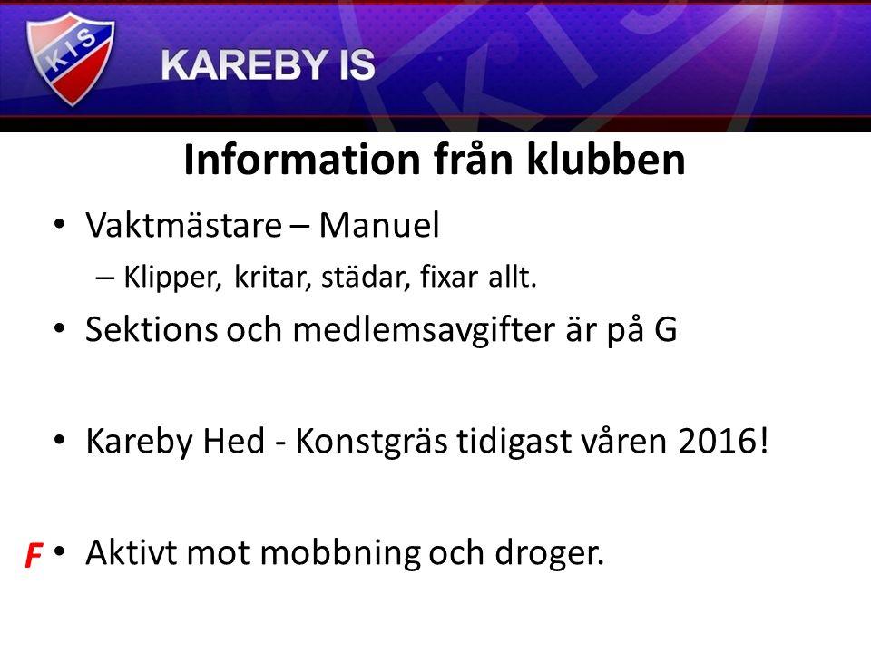 Information från klubben Vaktmästare – Manuel –K–Klipper, kritar, städar, fixar allt.