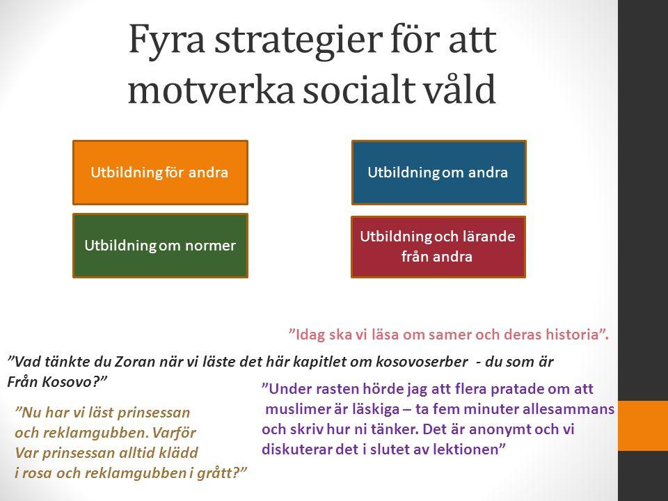 """Fyra strategier för att motverka socialt våld Utbildning för andra Utbildning och lärande från andra Utbildning om normer Utbildning om andra """"Vad tän"""