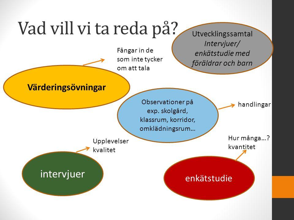 Vad vill vi ta reda på? Värderingsövningar Utvecklingssamtal Intervjuer/ enkätstudie med föräldrar och barn Observationer på exp. skolgård, klassrum,