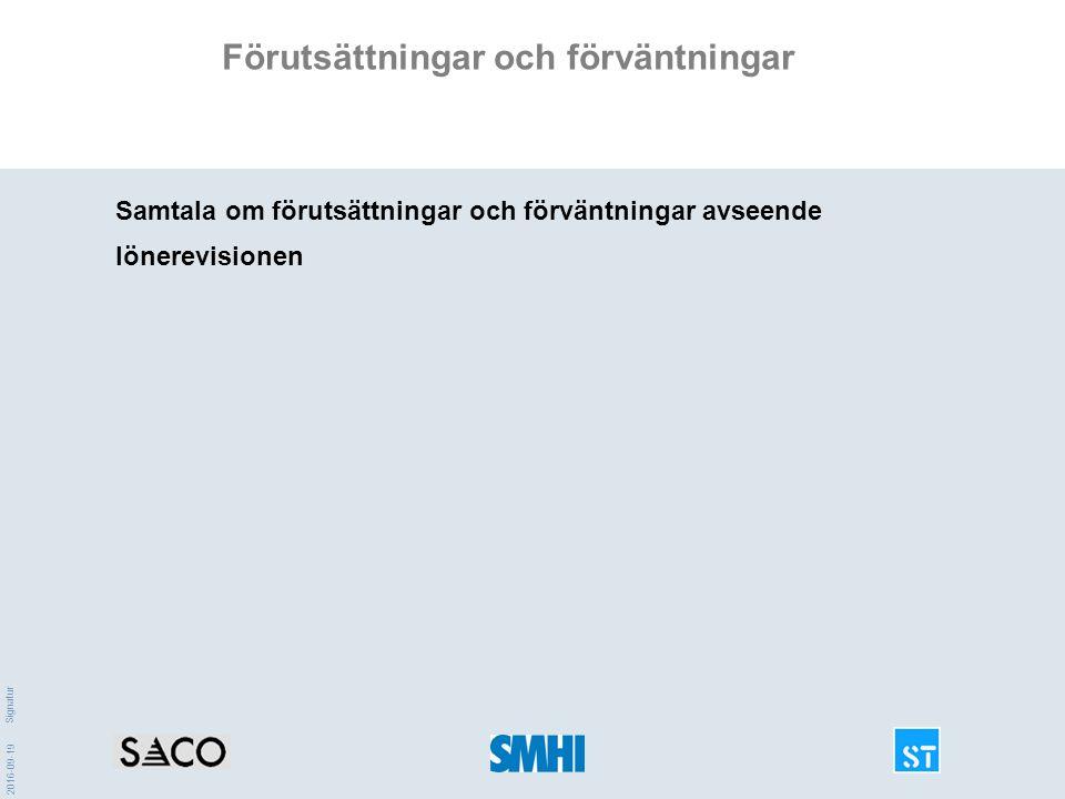 2016-09-19 Signatur Förutsättningar och förväntningar Samtala om förutsättningar och förväntningar avseende lönerevisionen