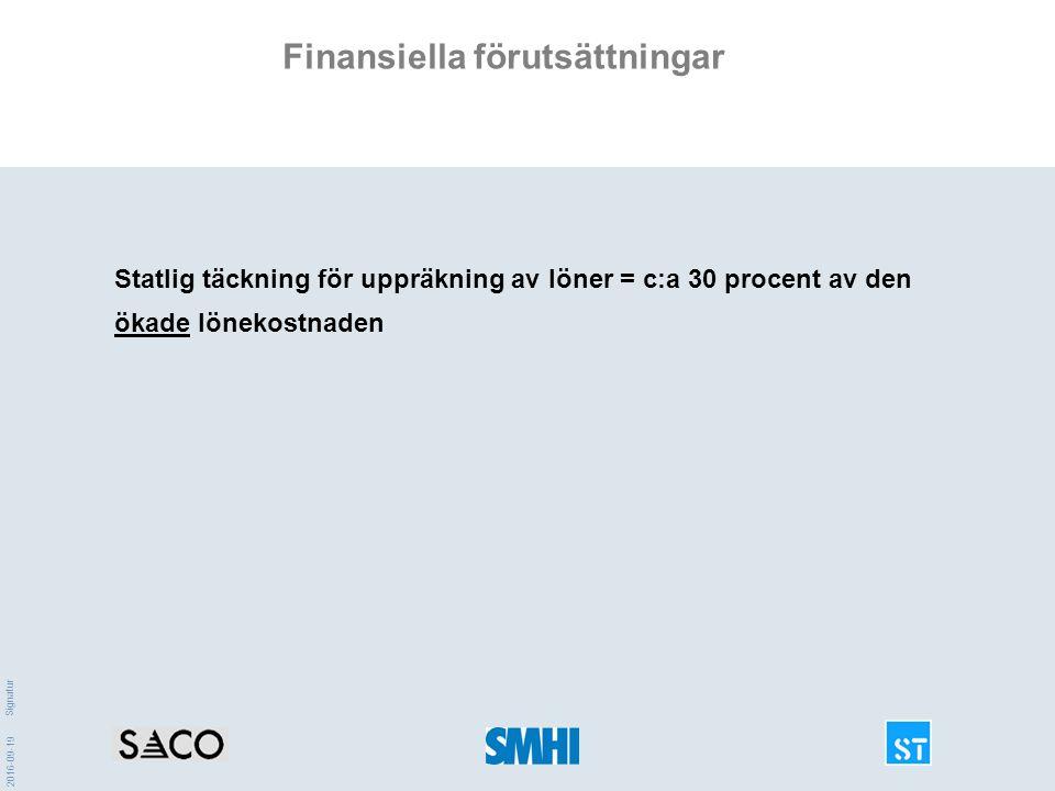 2016-09-19 Signatur Finansiella förutsättningar Statlig täckning för uppräkning av löner = c:a 30 procent av den ökade lönekostnaden