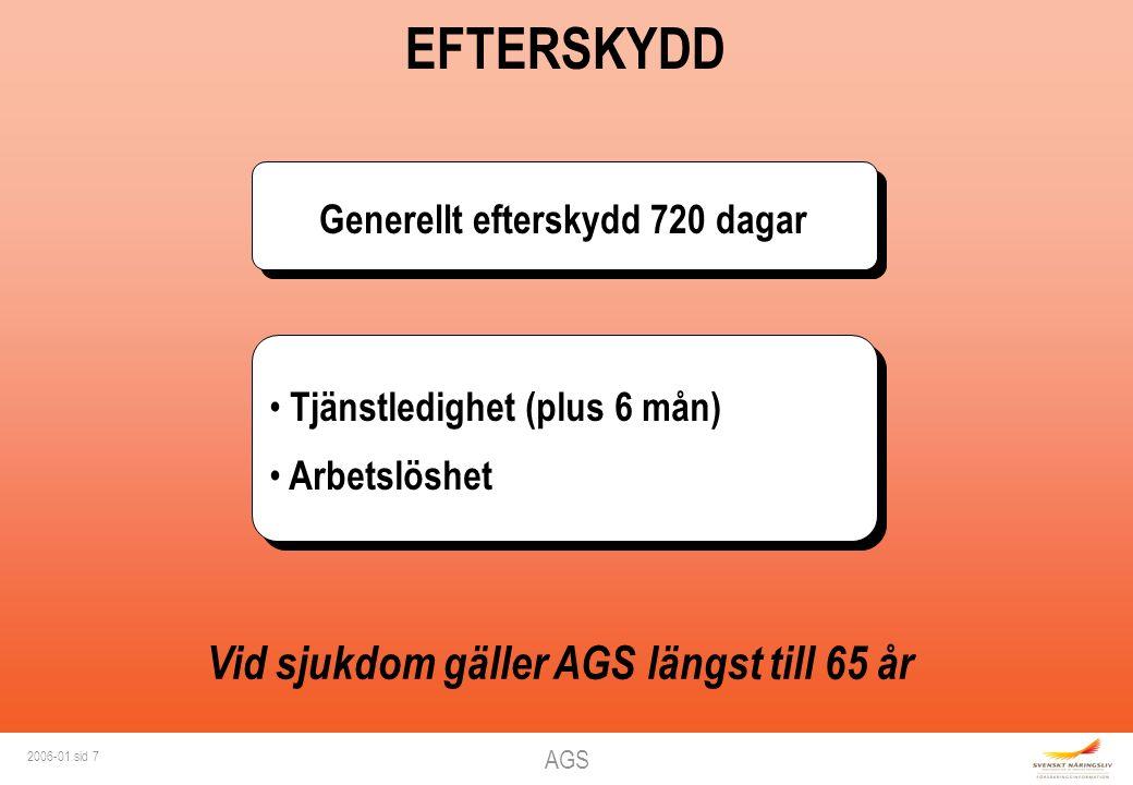 AGS 2006-01 sid 7 EFTERSKYDD Tjänstledighet (plus 6 mån) Arbetslöshet Tjänstledighet (plus 6 mån) Arbetslöshet Vid sjukdom gäller AGS längst till 65 år Generellt efterskydd 720 dagar