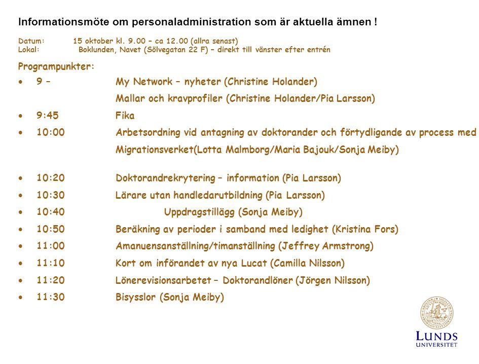 Informationsmöte om personaladministration som är aktuella ämnen .