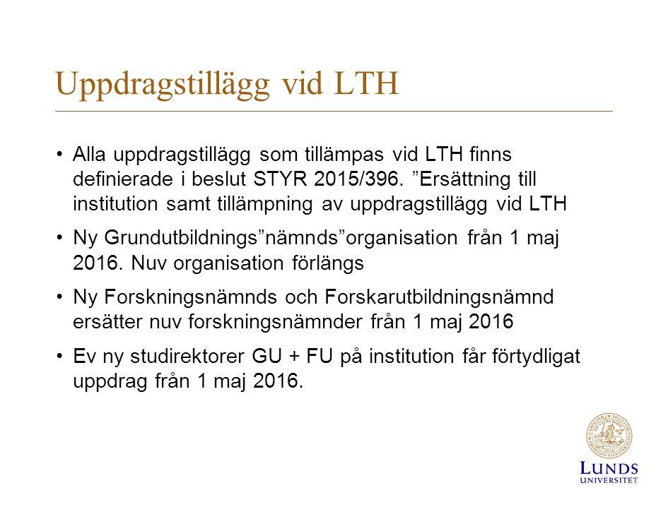 Uppdragstillägg vid LTH Alla uppdragstillägg som tillämpas vid LTH finns definierade i beslut STYR 2015/396.