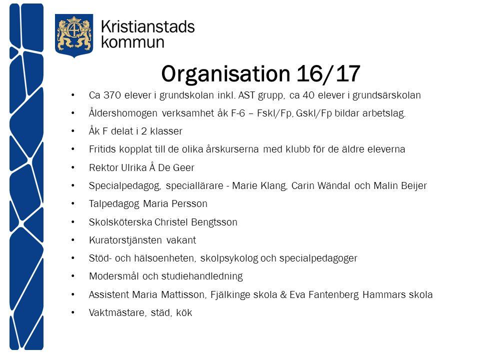 Organisation 16/17 Ca 370 elever i grundskolan inkl. AST grupp, ca 40 elever i grundsärskolan Åldershomogen verksamhet åk F-6 – Fskl/Fp, Gskl/Fp bilda