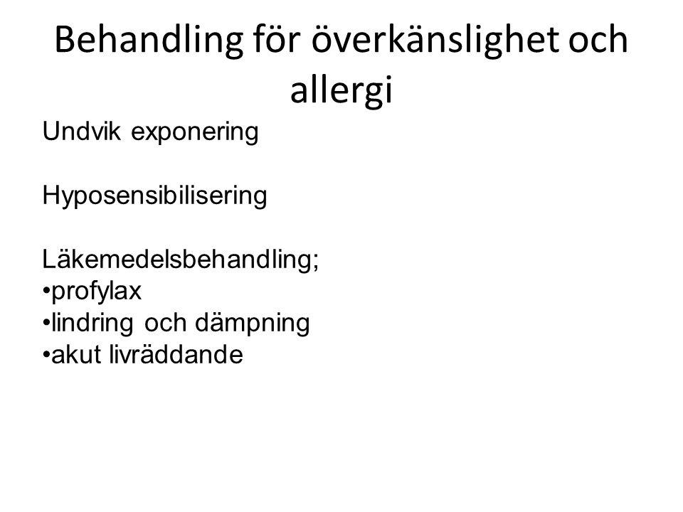 Behandling för överkänslighet och allergi Undvik exponering Hyposensibilisering Läkemedelsbehandling; profylax lindring och dämpning akut livräddande
