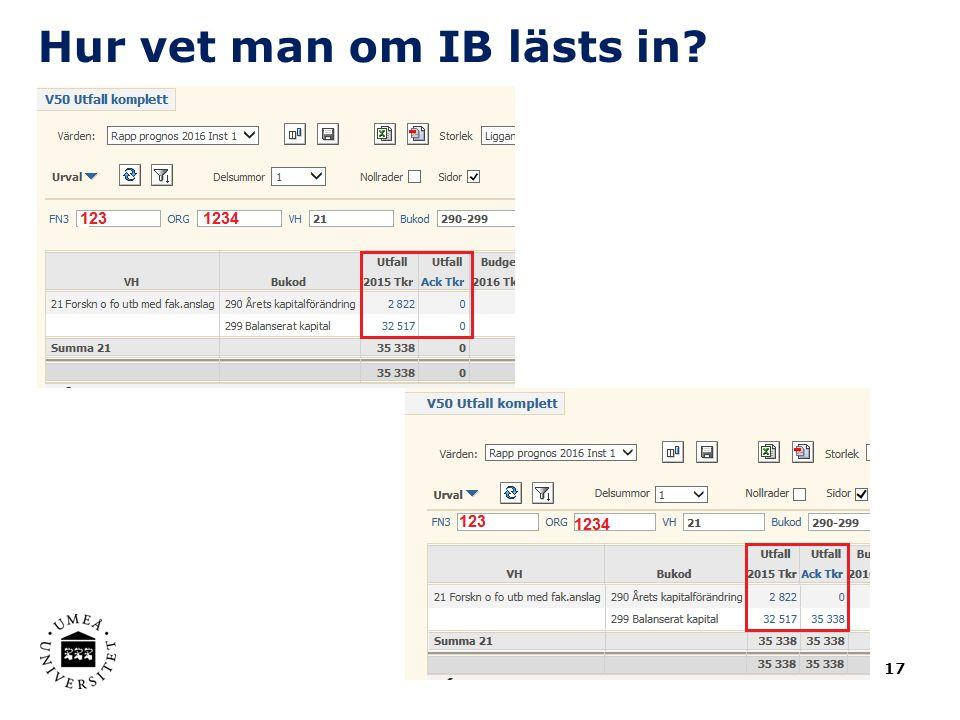 Hur vet man om IB lästs in? 17