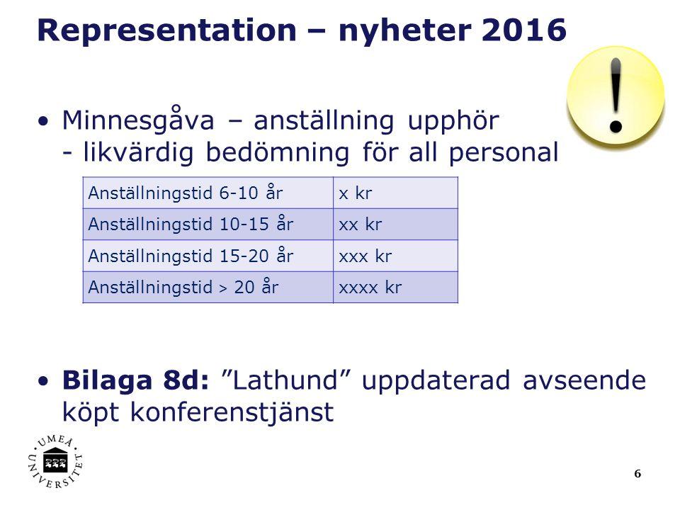 """6 Representation – nyheter 2016 Minnesgåva – anställning upphör - likvärdig bedömning för all personal Bilaga 8d: """"Lathund"""" uppdaterad avseende köpt k"""