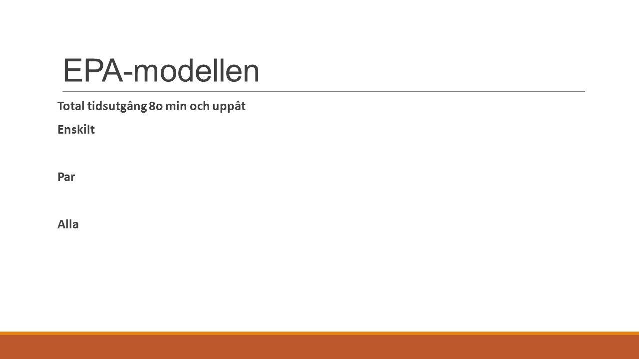 EPA-modellen Total tidsutgång 8o min och uppåt Enskilt Par Alla