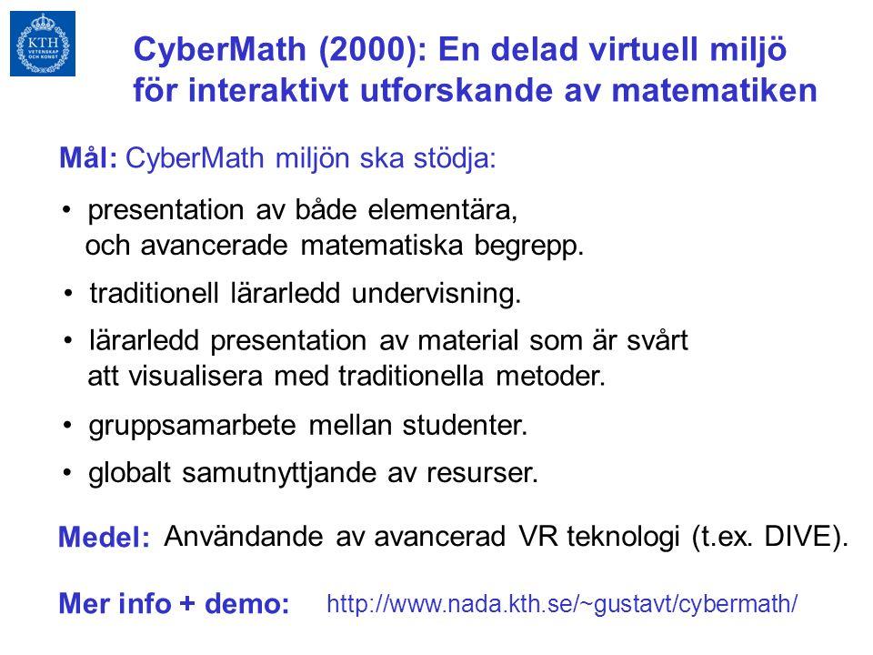 CyberMath (2000): En delad virtuell miljö för interaktivt utforskande av matematiken presentation av både elementära, och avancerade matematiska begrepp.