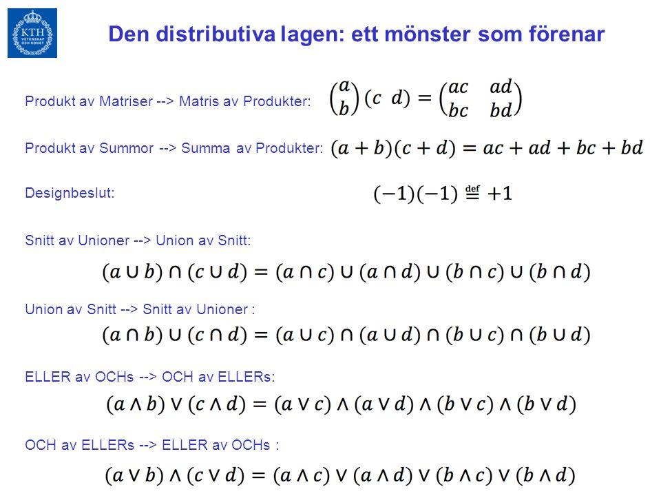 Produkt av Matriser --> Matris av Produkter: Produkt av Summor --> Summa av Produkter: Designbeslut: Snitt av Unioner --> Union av Snitt: Union av Snitt --> Snitt av Unioner : ELLER av OCHs --> OCH av ELLERs: OCH av ELLERs --> ELLER av OCHs : Den distributiva lagen: ett mönster som förenar