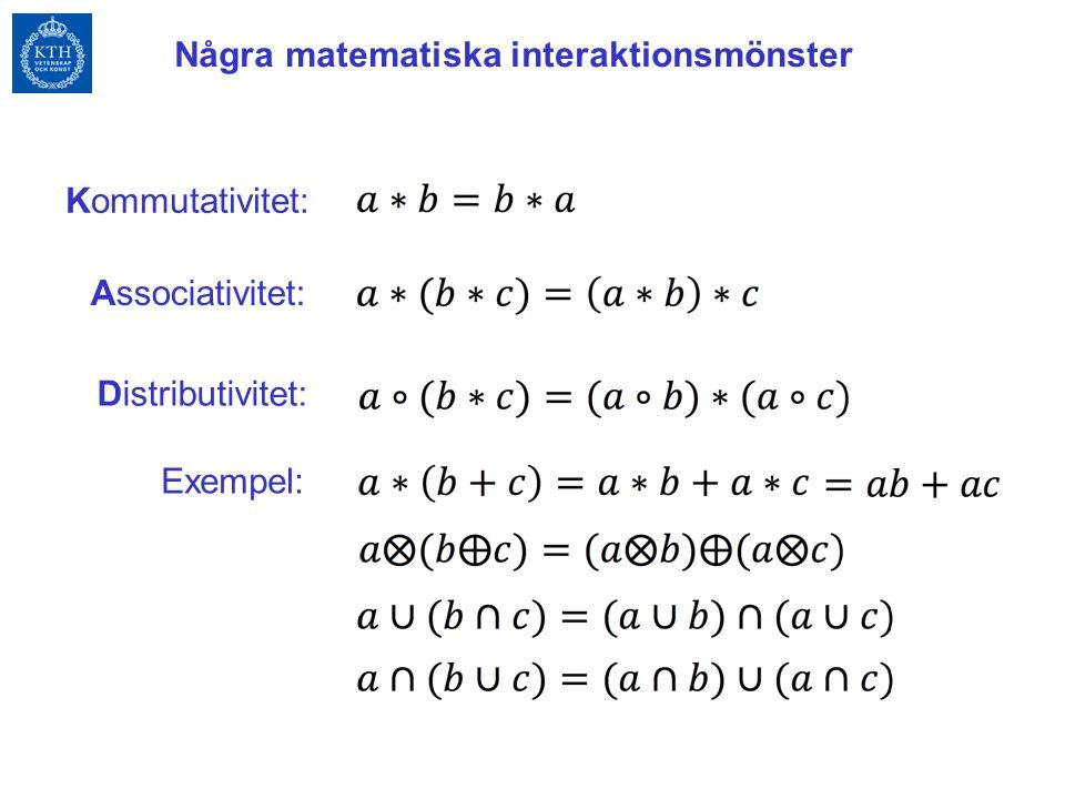 Associativitet: Kommutativitet: Distributivitet: Exempel: Några matematiska interaktionsmönster
