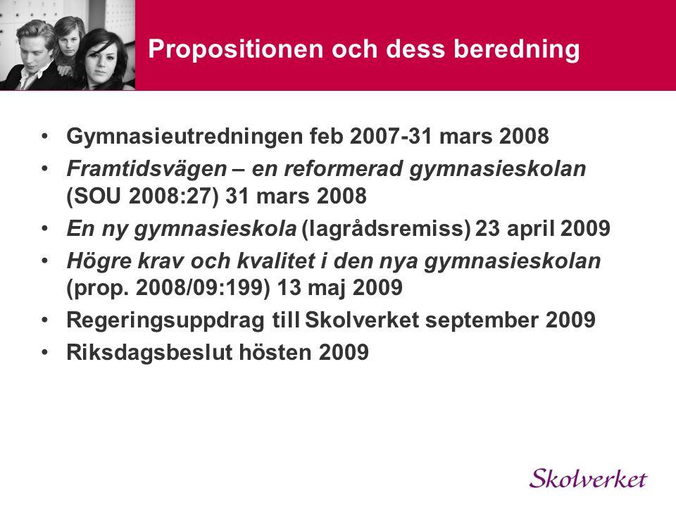Propositionen och dess beredning Gymnasieutredningen feb 2007-31 mars 2008 Framtidsvägen – en reformerad gymnasieskolan (SOU 2008:27) 31 mars 2008 En ny gymnasieskola (lagrådsremiss) 23 april 2009 Högre krav och kvalitet i den nya gymnasieskolan (prop.
