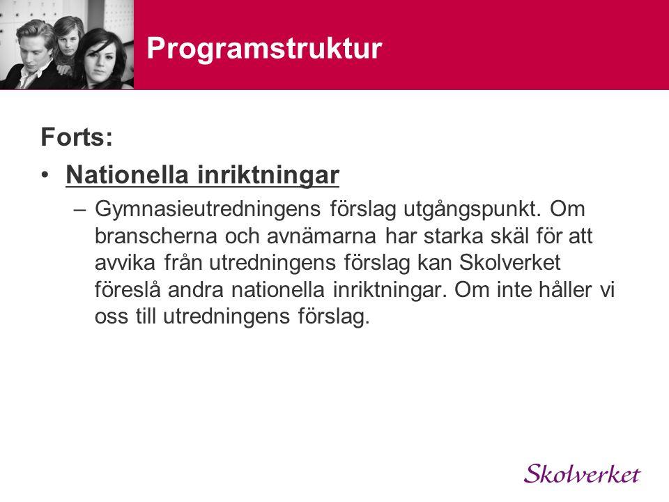 Programstruktur Forts: Nationella inriktningar –Gymnasieutredningens förslag utgångspunkt.