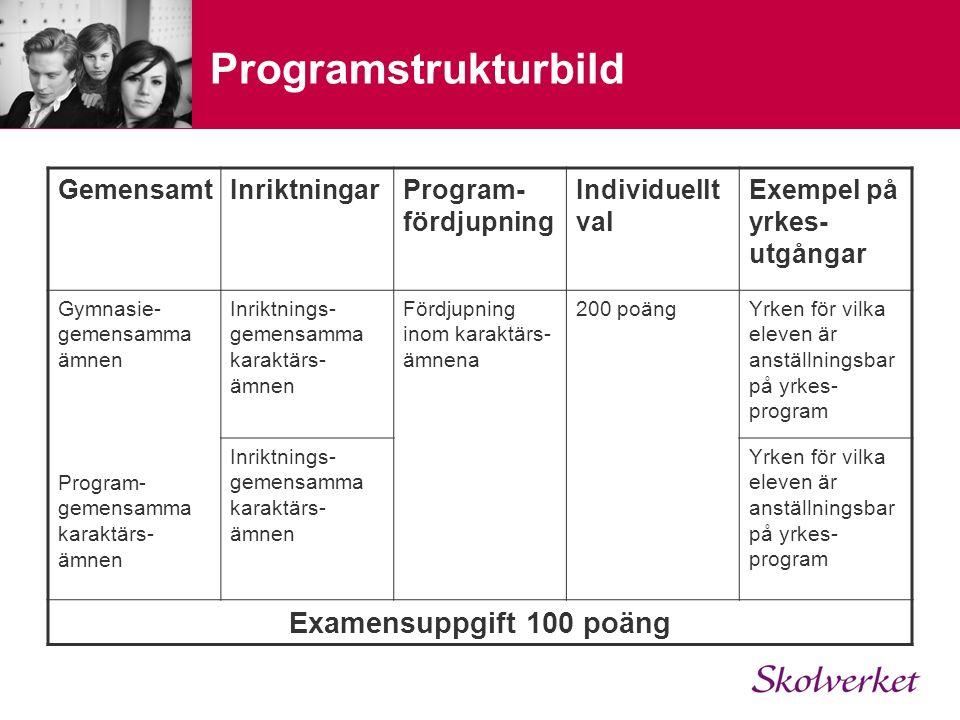 Programstrukturbild GemensamtInriktningarProgram- fördjupning Individuellt val Exempel på yrkes- utgångar Gymnasie- gemensamma ämnen Program- gemensamma karaktärs- ämnen Inriktnings- gemensamma karaktärs- ämnen Fördjupning inom karaktärs- ämnena 200 poängYrken för vilka eleven är anställningsbar på yrkes- program Inriktnings- gemensamma karaktärs- ämnen Yrken för vilka eleven är anställningsbar på yrkes- program Examensuppgift 100 poäng