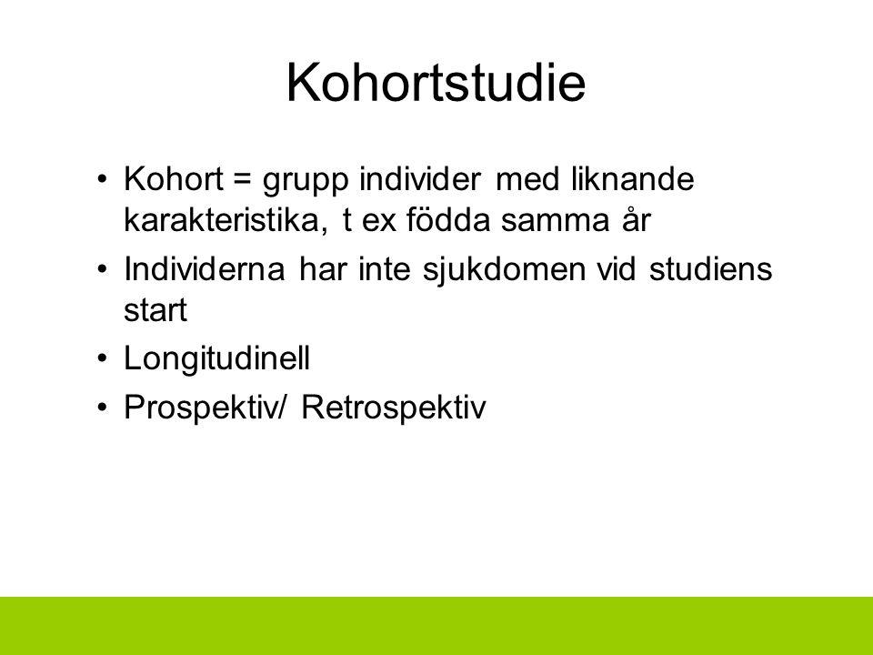 Kohortstudie Kohort = grupp individer med liknande karakteristika, t ex födda samma år Individerna har inte sjukdomen vid studiens start Longitudinell Prospektiv/ Retrospektiv