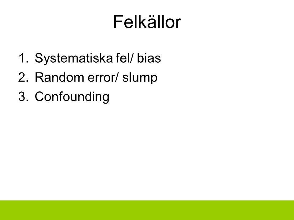 Felkällor 1.Systematiska fel/ bias 2.Random error/ slump 3.Confounding