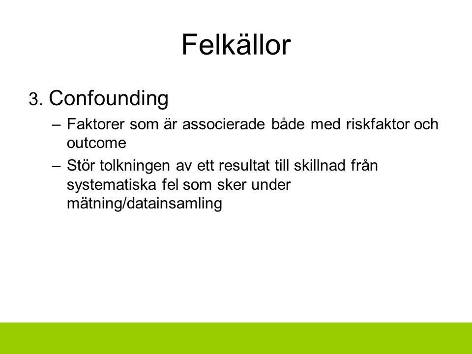 Felkällor 3. Confounding –Faktorer som är associerade både med riskfaktor och outcome –Stör tolkningen av ett resultat till skillnad från systematiska