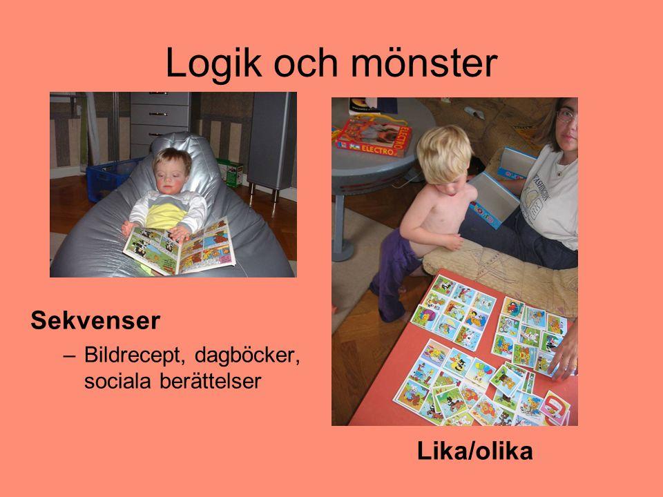 Logik och mönster Sekvenser –Bildrecept, dagböcker, sociala berättelser Lika/olika
