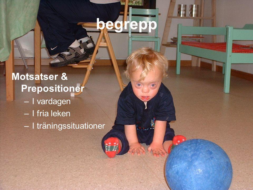 begrepp Motsatser & Prepositioner –I vardagen –I fria leken –I träningssituationer