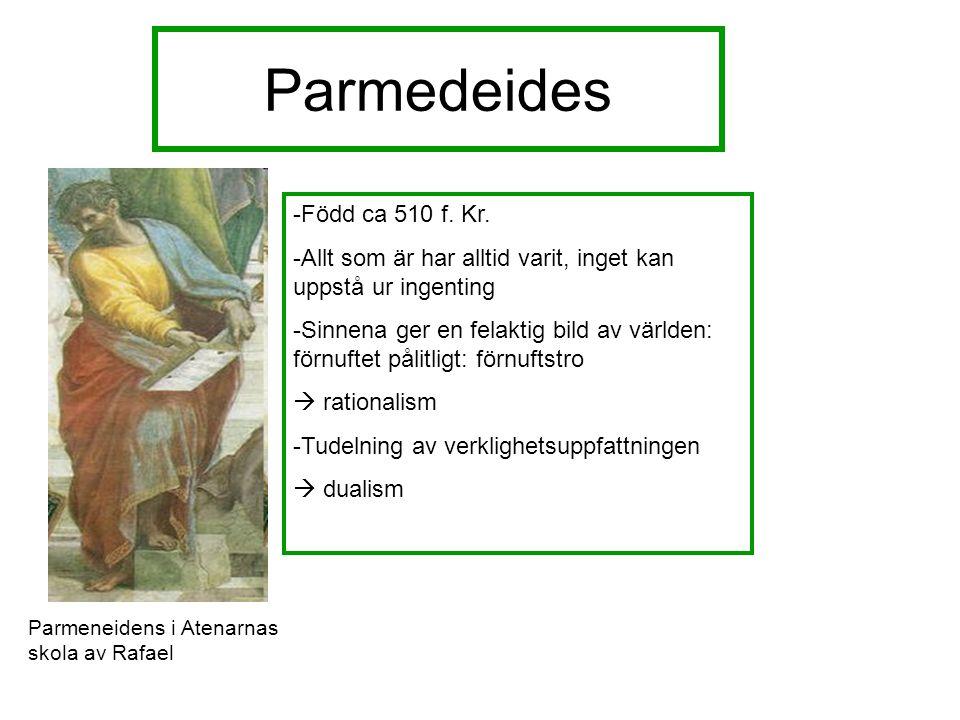 Parmedeides Parmeneidens i Atenarnas skola av Rafael -Född ca 510 f.