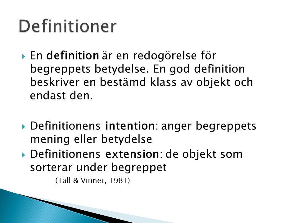  En definition är en redogörelse för begreppets betydelse.