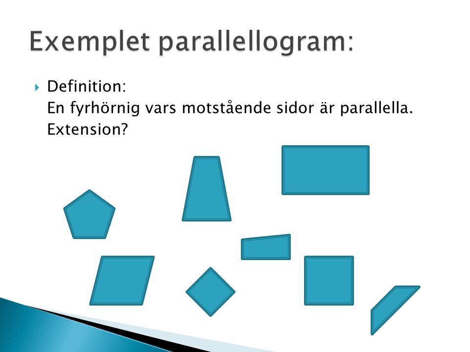  Definition: En fyrhörnig vars motstående sidor är parallella. Extension