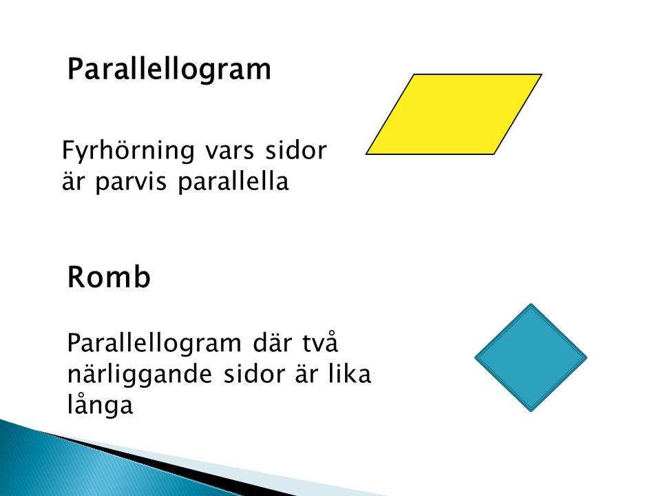 Parallellogram där två närliggande sidor är lika långa Fyrhörning vars sidor är parvis parallella Parallellogram Romb