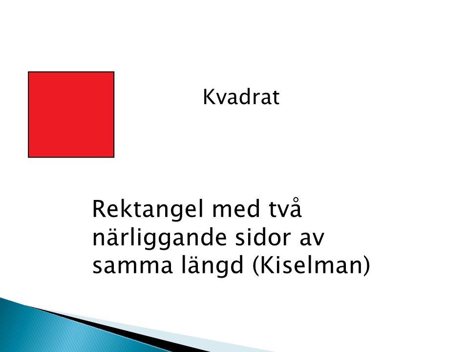 Kvadrat Rektangel med två närliggande sidor av samma längd (Kiselman)