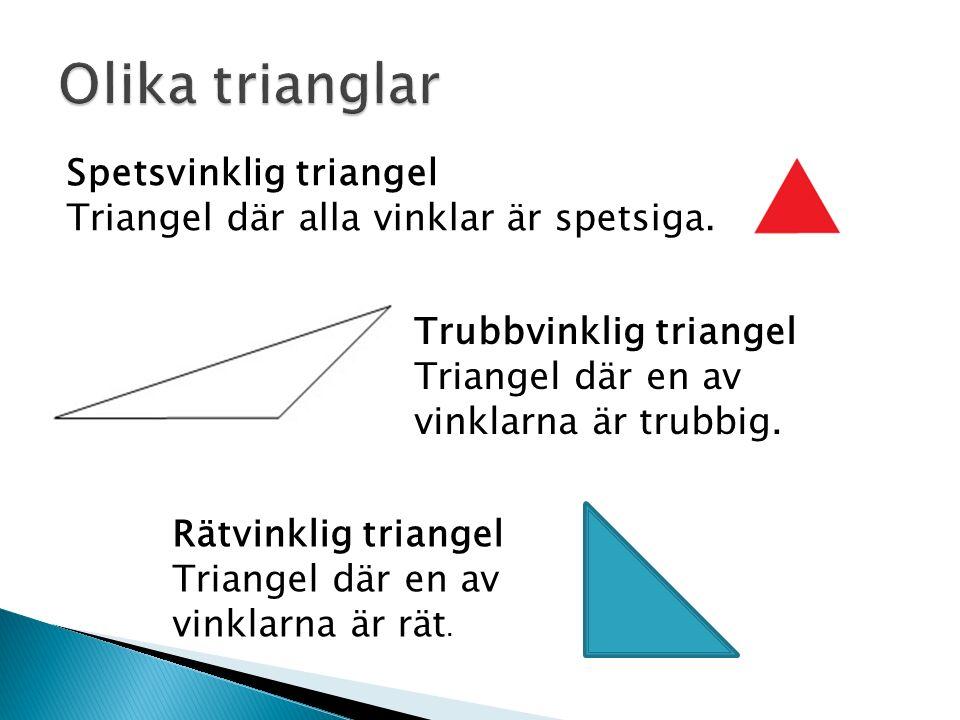 Spetsvinklig triangel Triangel där alla vinklar är spetsiga.