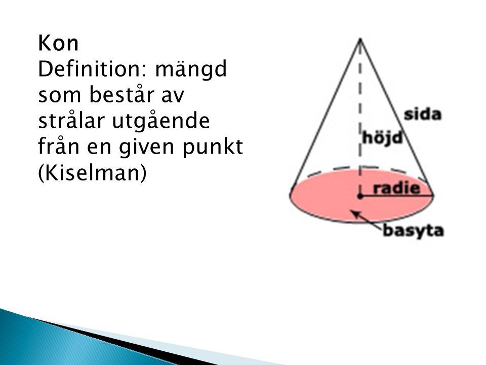 Kon Definition: mängd som består av strålar utgående från en given punkt (Kiselman)