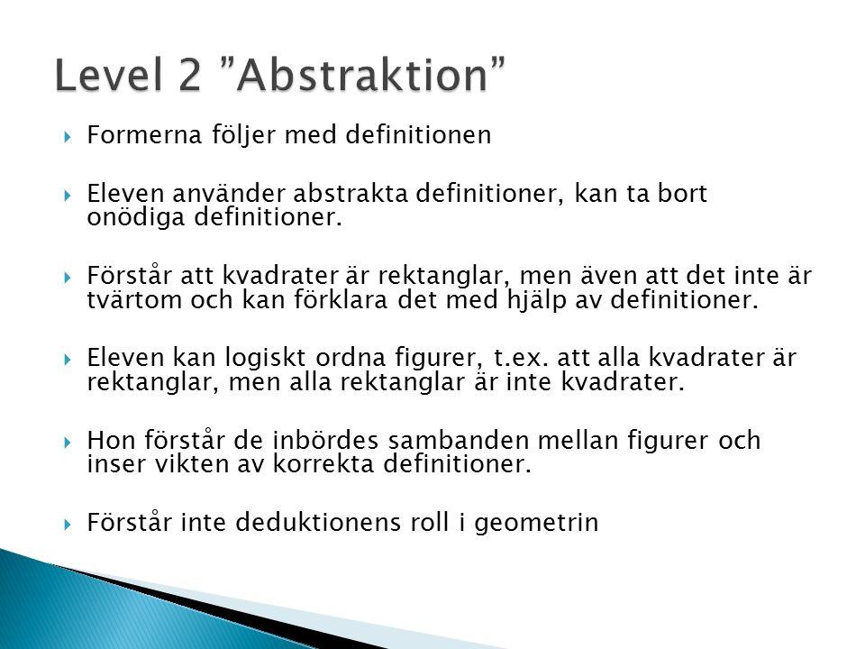  Formerna följer med definitionen  Eleven använder abstrakta definitioner, kan ta bort onödiga definitioner.