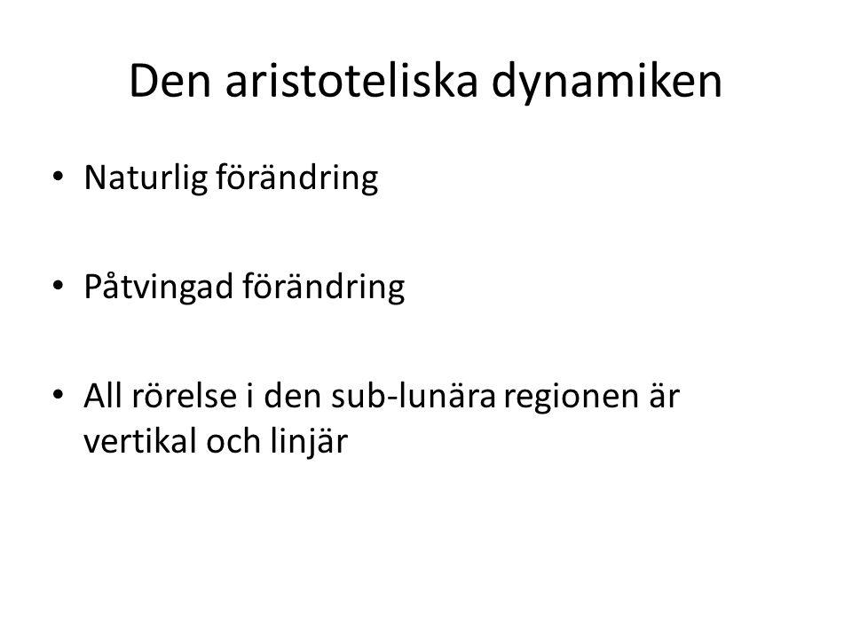 Den aristoteliska dynamiken Naturlig förändring Påtvingad förändring All rörelse i den sub-lunära regionen är vertikal och linjär