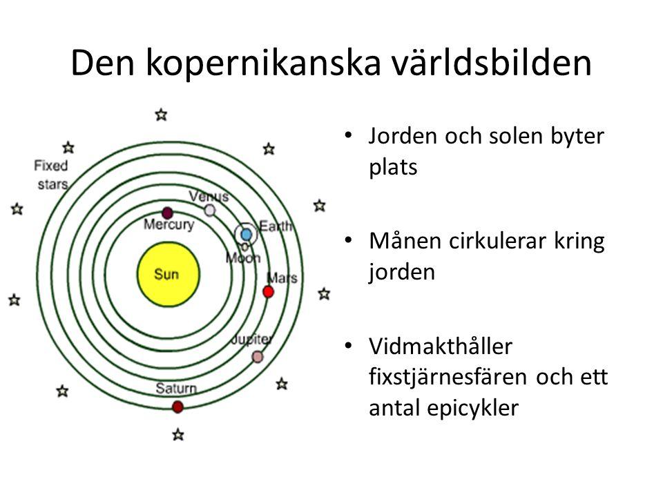 Den kopernikanska världsbilden Jorden och solen byter plats Månen cirkulerar kring jorden Vidmakthåller fixstjärnesfären och ett antal epicykler