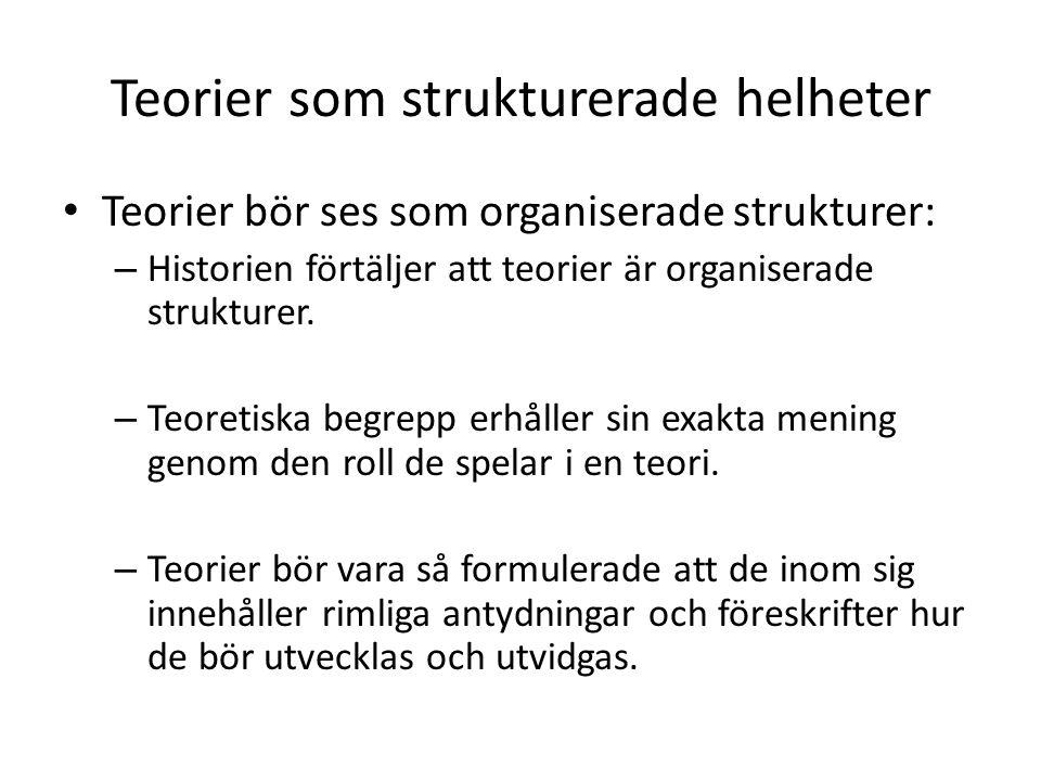 Teorier som strukturerade helheter Teorier bör ses som organiserade strukturer: – Historien förtäljer att teorier är organiserade strukturer.