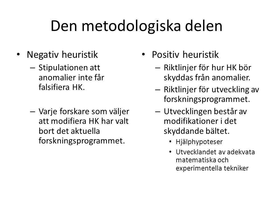 Den metodologiska delen Negativ heuristik – Stipulationen att anomalier inte får falsifiera HK.