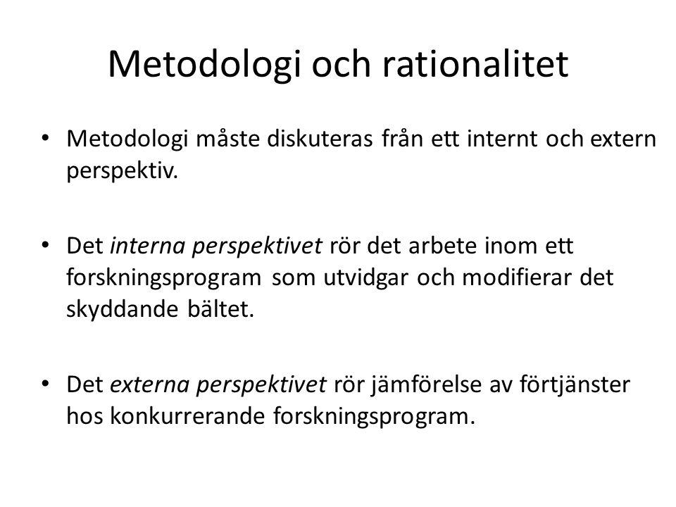 Metodologi och rationalitet Metodologi måste diskuteras från ett internt och extern perspektiv.